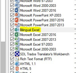 File types Bilingual Excel