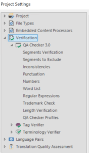 Trados project Settings Verification
