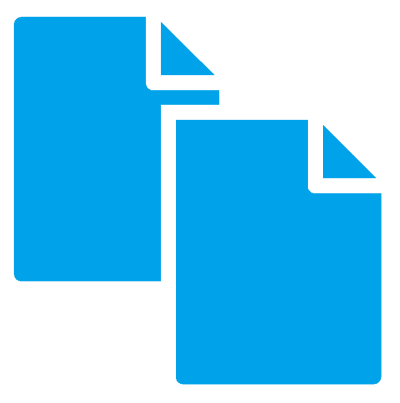 Icon of two blue files representing document translation.