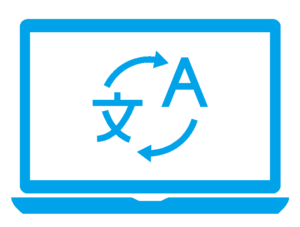 Icon of blue laptop with translation symbol representing website localisation.