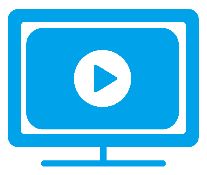 Icon of blue TV with a play symbol representing audiovisual translation.