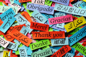 Thank you in multiple languages representing International Translation Day
